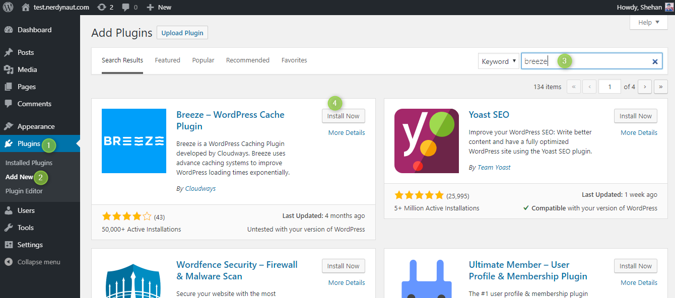 Instalación del complemento Breeze WordPress Cache