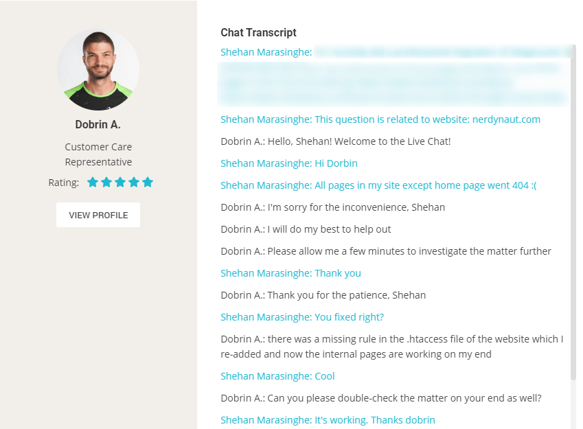 A Theard Chat Live Theard con SiteGround Support